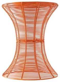 Indoor outdoor round accent table orange modern for Orange outdoor side table