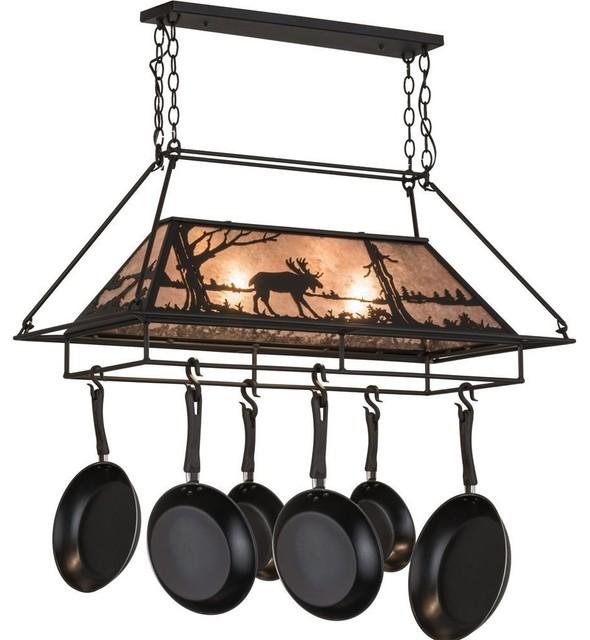 "Meyda Lighting 40""L Moose At Lake Lighted Pot Rack, Black/Silver Mica"