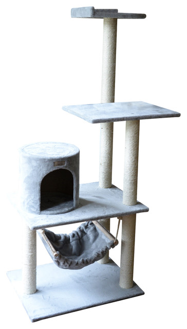 gleepet 59   cat tree with hammock silver gray contemporary cat furniture armarkat   gleepet 59   cat tree with hammock   view in your room      rh   houzz