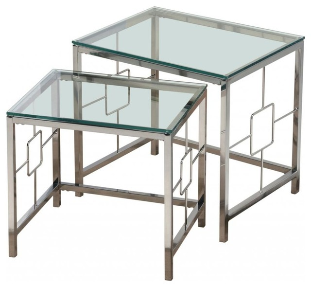 2 Piece Glass Nesting Tables Set, Chrome Contemporary Coffee Table Sets