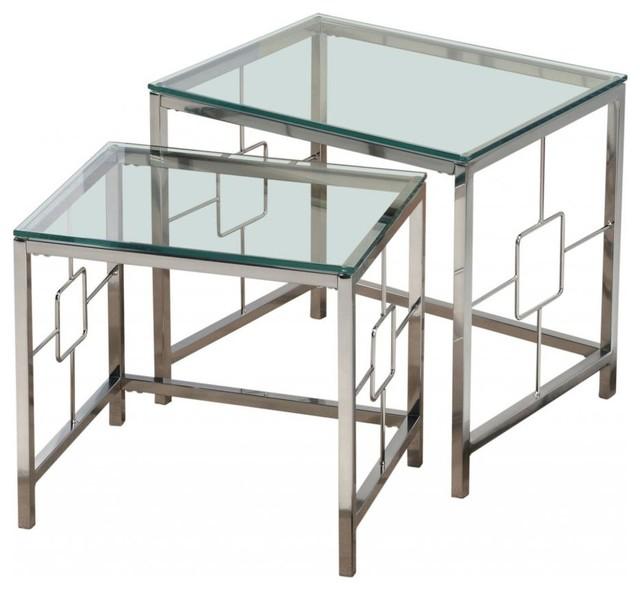 2 Piece Glass Nesting Tables Set, Chrome