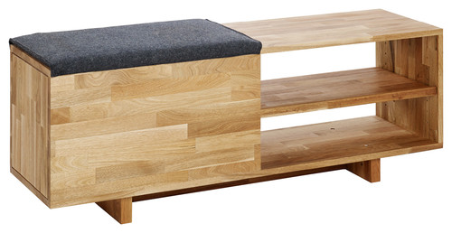 Mash Lax Modern Solid Wood Storage Bench