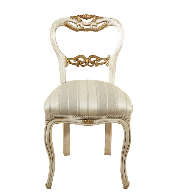 Louis XV Antiqued Finish French Style Painted Occasional Accent Side Chair