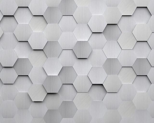 Metal Hexagons Wall Mural.