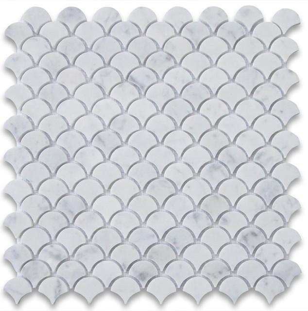 12 X12 Carrara White Medium Fish Scale Fan Shaped Mosaic Tile Polished Modern