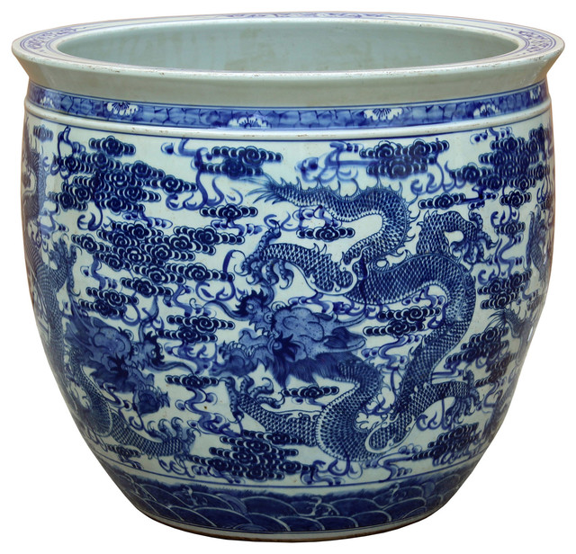 Chinese Vintage Finish Blue White Porcelain Dragons Round Pot Planter