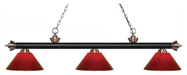 Borghese Design 3 Light Billiard Light Matte Black And