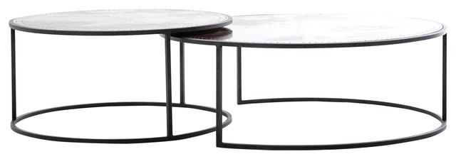Ariel Industrial Loft Copper Studded Nesting Coffee Table, Pair.