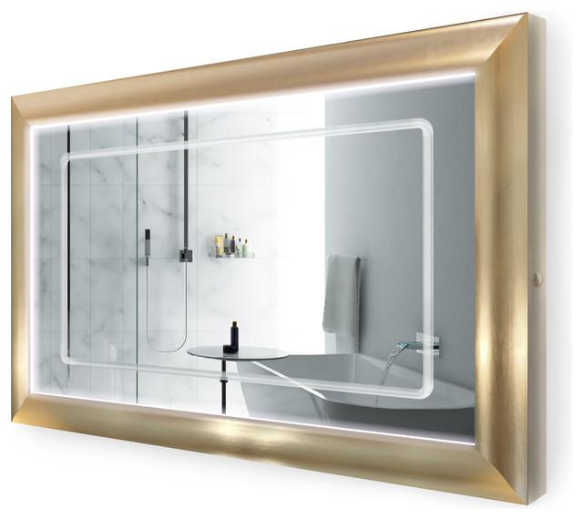 "LED Lighted Gold Frame Bathroom Mirror With Defogger, 48""x30"""