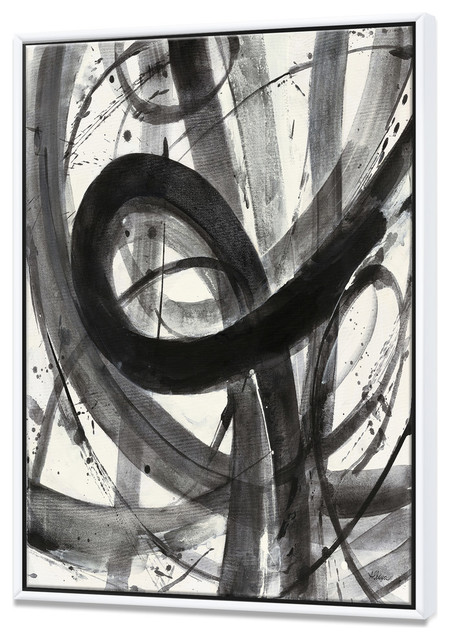 Designart Black White Minimalistic Painting Framed Canvas Art