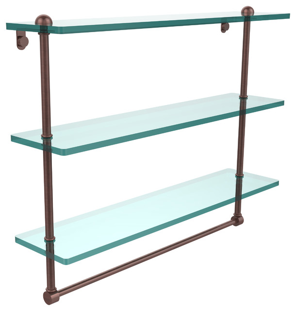 "22"" triple glass shelf with towel bar - contemporary - bathroom"
