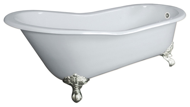 Cast Iron Slipper Clawfoot Tub.67 Cast Iron Slipper Tub Without Faucet Holes Clay Traditional