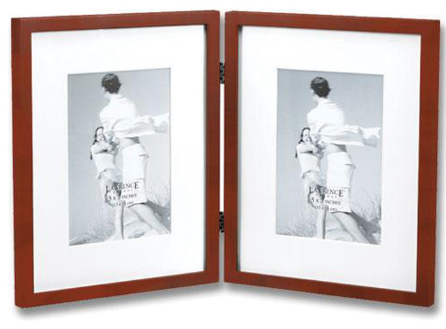 walnut wood 8x10 hinged double picture frame matted to 5x7 traditional picture frames - Double 5x7 Picture Frame