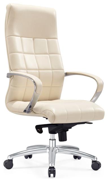 Ergonomic Grant Leather Executive Chair With Aluminum Base, Cream.