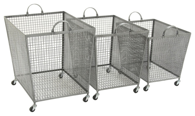 Metal Roll Storage Bins 3 Piece Set Transitional Utility Carts