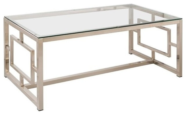 Bowery Hill Contemporary Metal Coffee Table, Satin Nickel.
