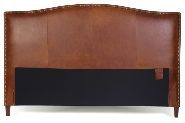 king size leather headboard with brass nail head, tobacco, Headboard designs