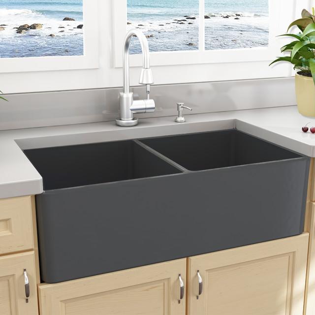 Nantucket Sinks 33 Double Bowl Gray Fireclay Farmhouse Sink Kitchen By