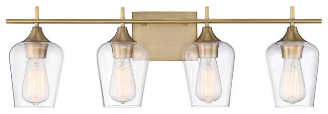 Octave 2-Light Vanity Fixture, Warm Brass, 4-Light