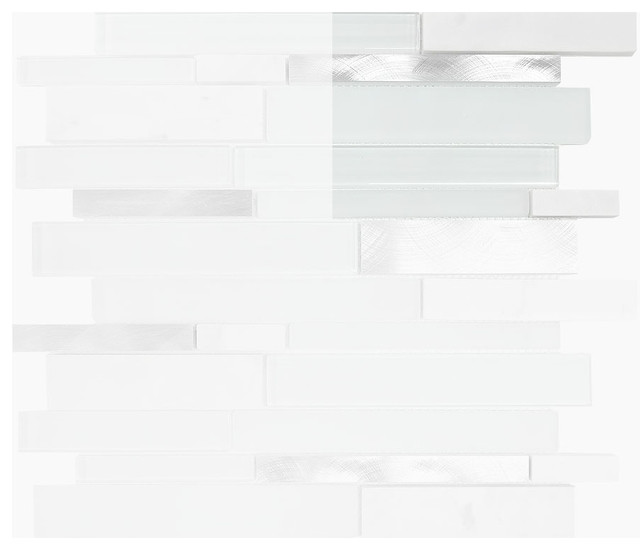 Sample White Glass Stone Metal Linear Glass Mosaic Tile: White Gray Glass Metal Marble Mosaic Backsplash Tile