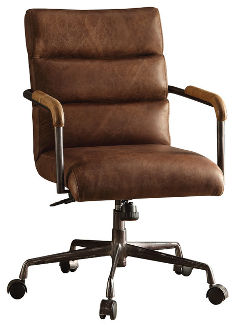 Harith Top Grain Leather Office Chair Retro Brown