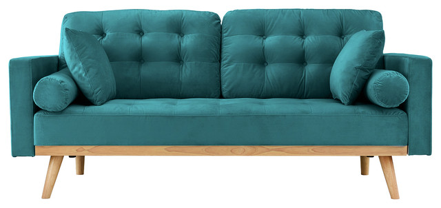 Modern Mid Century 2 Seater Tufted Velvet Sofa With Wooden Legs, Teal