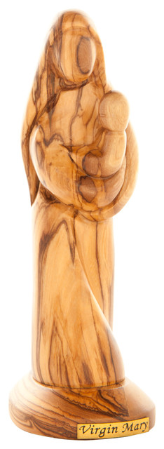 Olive Wood Virgin Mary With The Holy Child - Abstract.
