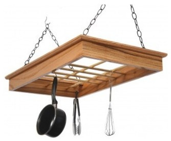 Solid Red Oak Hanging Pot N Pan Rack.