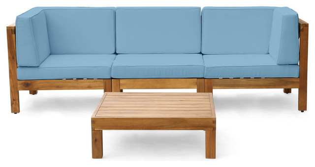 Wood Sectional Patio Furniture.Gdf Studio 4 Piece Dawson Outdoor Acacia Wood Sectional Set With Coffee Table