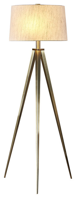 "Artiva USA Hollywood 63"" LED Tripod Floor Lamp With Dimmer, Antique Satin Brass"