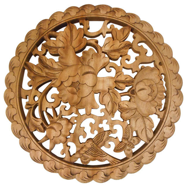 Camphor Wood Carved Panel asian-wall-accents