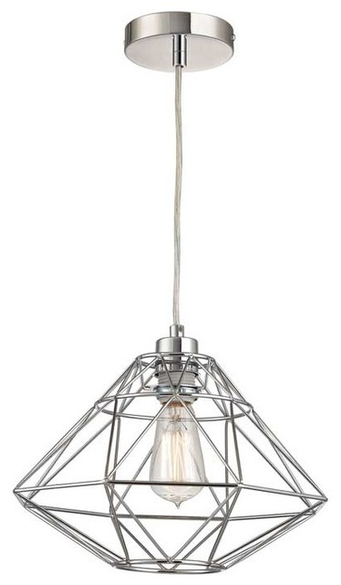 Modern Geometric Pendant With Silver Open Metal Wire Shade