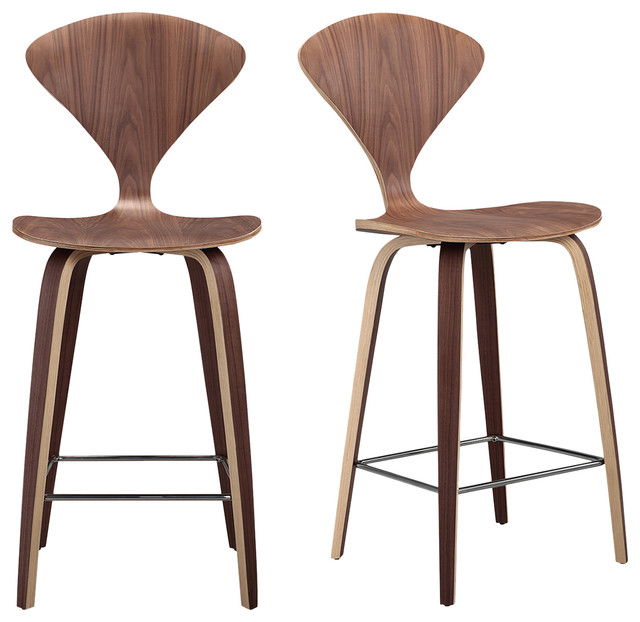 Modern Wood Bar Stools ~ Kardiel manta modern walnut wood bar stools set of