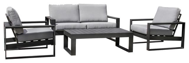 Amalfi Outdoor Lounge Set With 2-Seater Sofa, Black