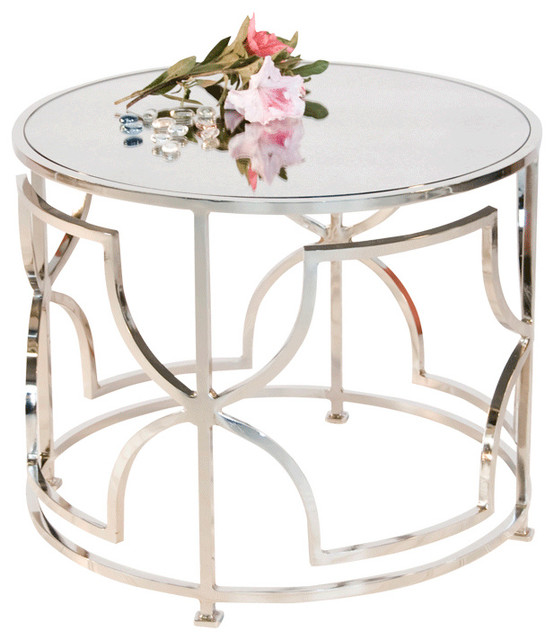 Worlds Away Nickel Plated Round Cocktail Table With Antique Mirror Top TESS  N Contemporary Coffee