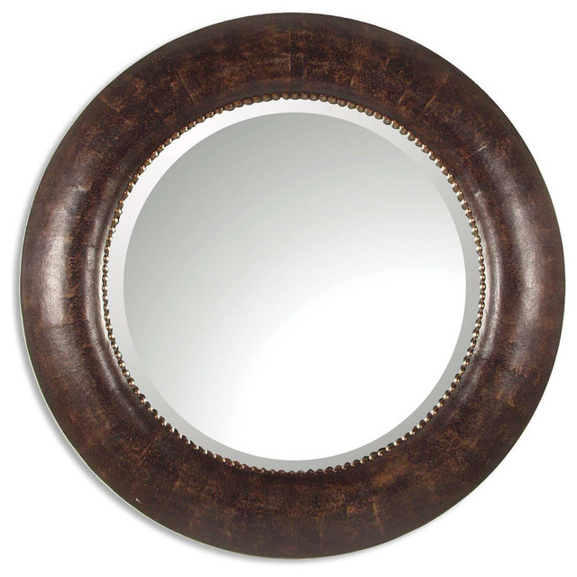 Round Wall Mirrors round brown leather wall mirror, classic vanity dark - traditional