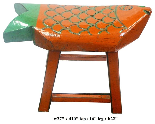 Eclectic Orange Green Color Fish Wooden Stool