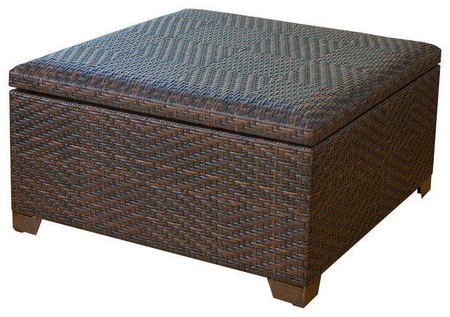 Castiac Outdoor Wicker Storage Ottoman tropical-outdoor-footstools-and- ottomans - Castiac Outdoor Wicker Storage Ottoman - Tropical - Outdoor