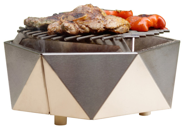 Stainless Steel Charcoal Table Grill Curonian Contemporary Outdoor Grills By Deco Llc