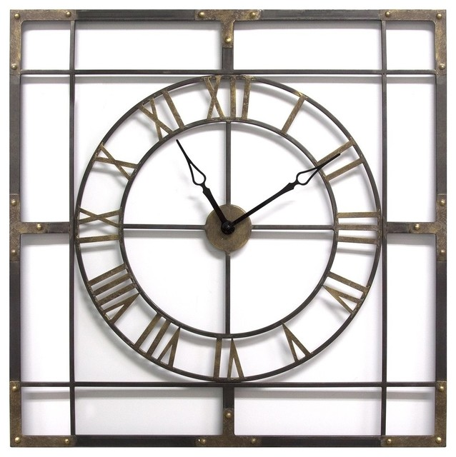 Stratton Home Industrial Metal Wall Clock With Antique Bronze And Bronze S11549 Industrial Wall Clocks By Gwg Outlet