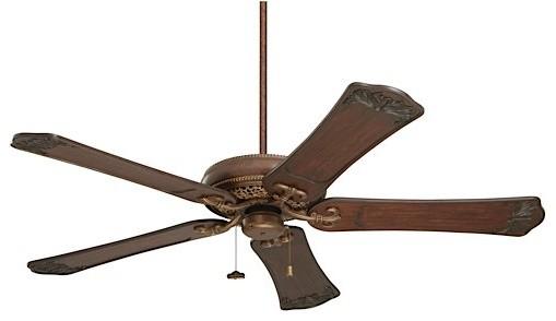 "Crown Select 60"" Fan, Gilded Bronze, Dark Walnut Carved Blades."