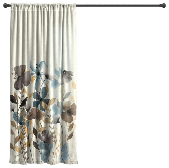 Laural Home Greige Florals Sheer Window Curtain, 84.