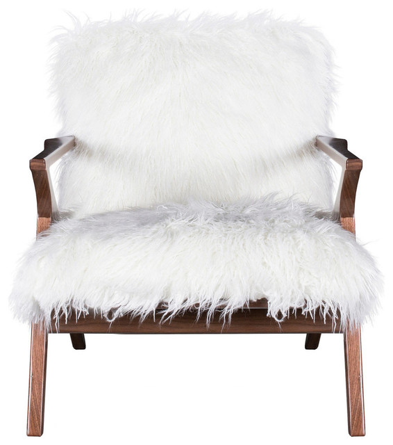 Pleasant Henry Chair With Walnut Finish On Wood Frame Ivory Faux Fur Squirreltailoven Fun Painted Chair Ideas Images Squirreltailovenorg