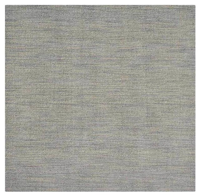 Carpets Hand Knotted Loom Wool Solid Square Area Rug, Light Blue, 10&x27;x10&x27;.