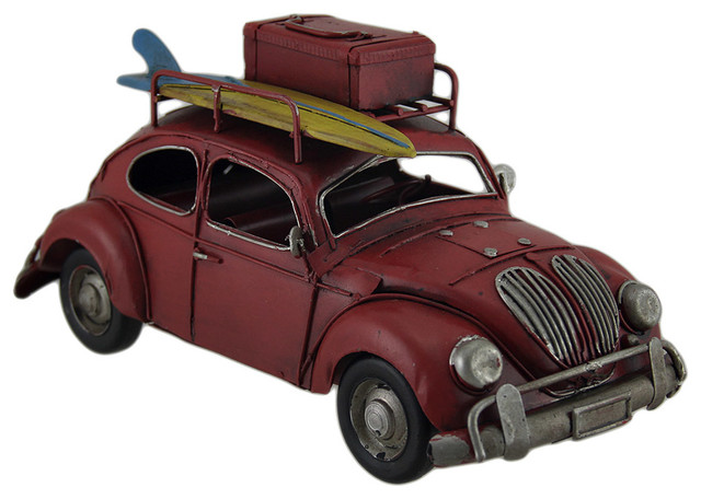 Loaded Up Beach Bound Red Retro Surfer Car Statue