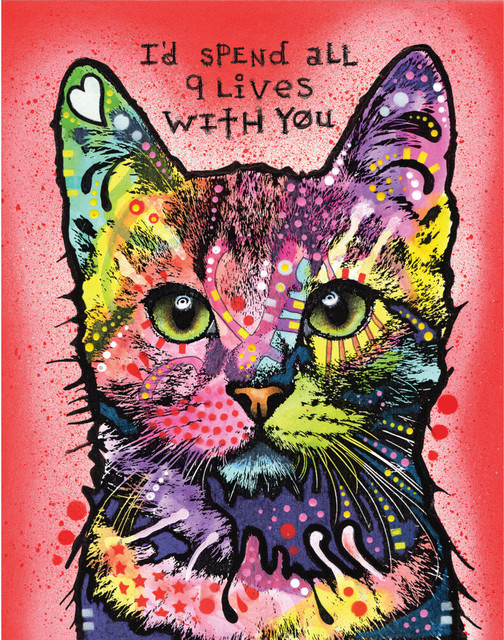 Animal Pop Art Wall Decal, 9 Lives by Dean Russo - Contemporary ...
