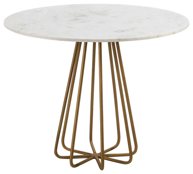 Round White Marble Dining Table With Gold Base