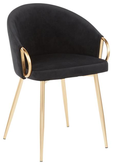 Claire Chair, Gold Metal, Black Velvet