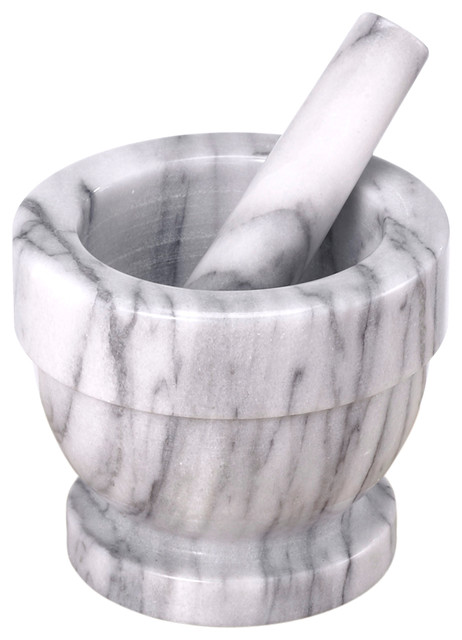 "White Mortar And Pestle, 5.25"" X 4.5""."