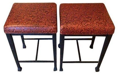 Contemporary Steel Stools A Pair Midcentury Bar